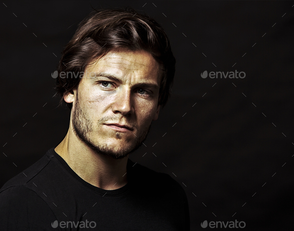 caucasian man wearing  black tshirt and trendy hairstyle - Stock Photo - Images