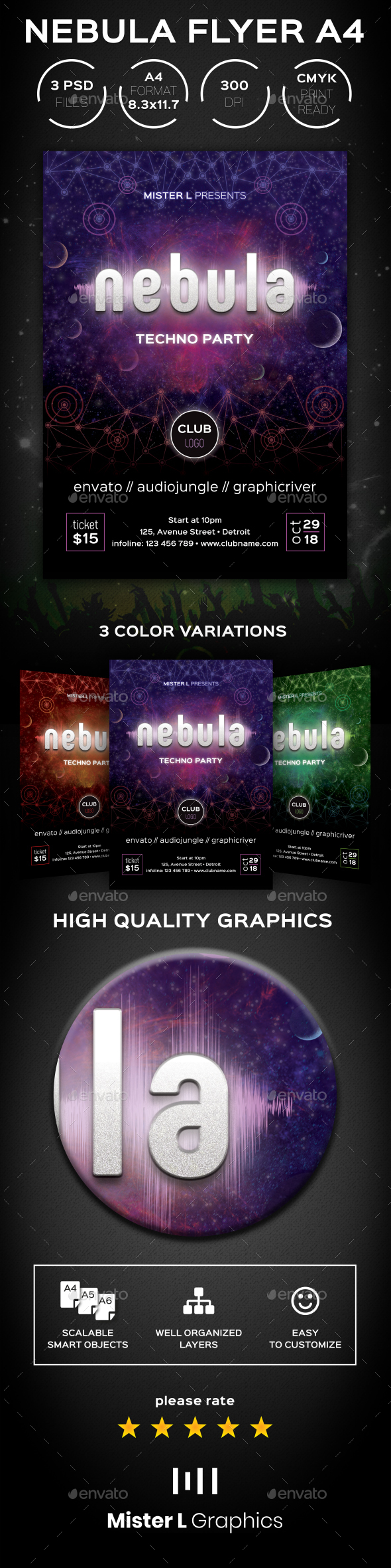 Nebula Techno Flyer A4 - Clubs & Parties Events
