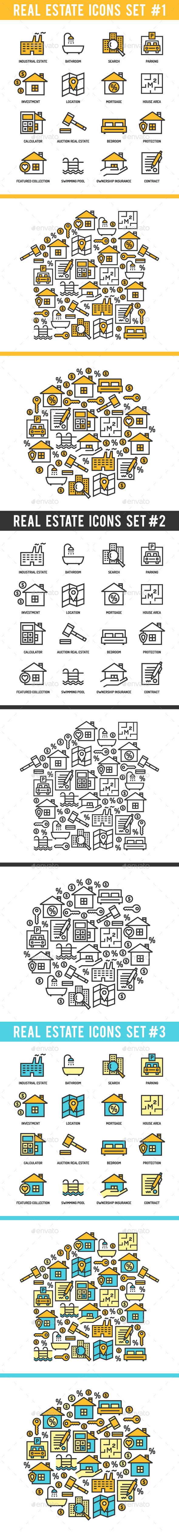 Real Estate Icons Set - Business Icons