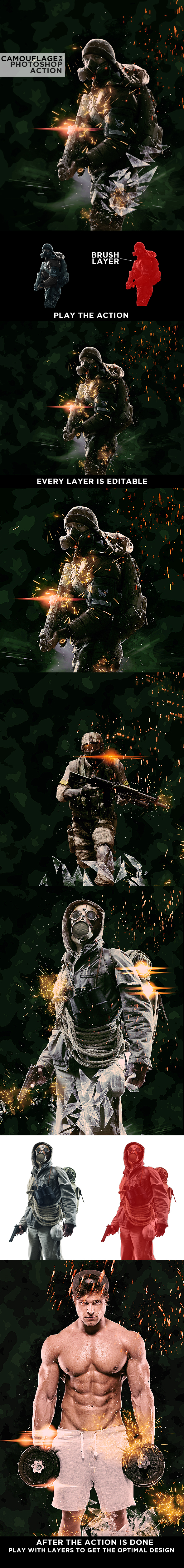 Camouflage Army Ps Action - Actions Photoshop