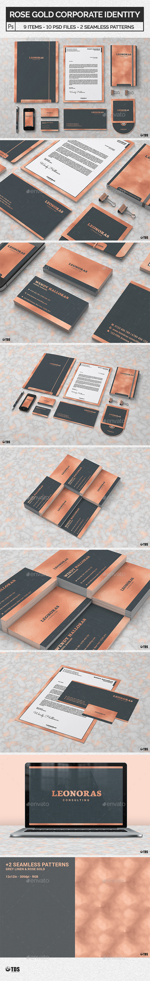 Rose Gold Corporate Identity Template - Stationery Print Templates