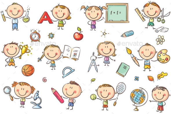 Kids with School Things - Miscellaneous Vectors