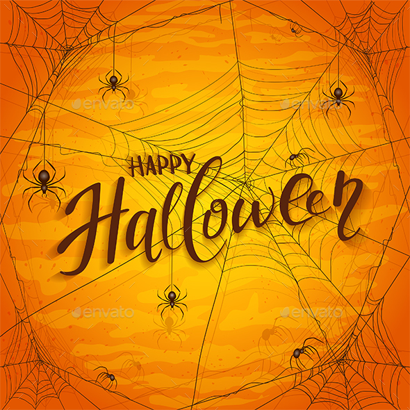 Text Happy Halloween on Orange Background with Spiders - Halloween Seasons/Holidays
