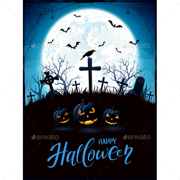 Halloween Theme with Pumpkins and Raven on Cemetery - Halloween Seasons/Holidays