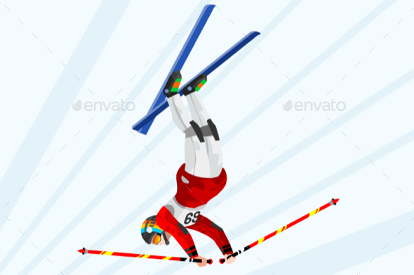 Freestyle Skiing Winter Sports Vector - Sports/Activity Conceptual