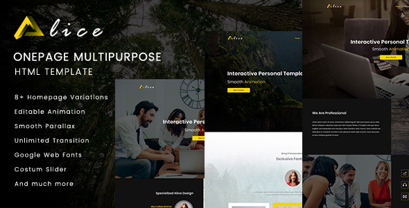 Alice Onepage Multipurpose HTML Template