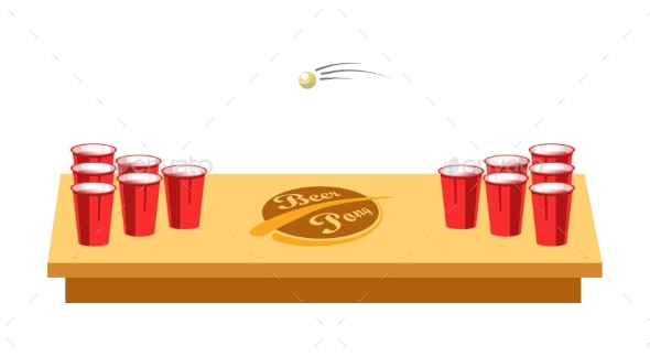 Beer Pong Game for Party on Wooden Table - Sports/Activity Conceptual