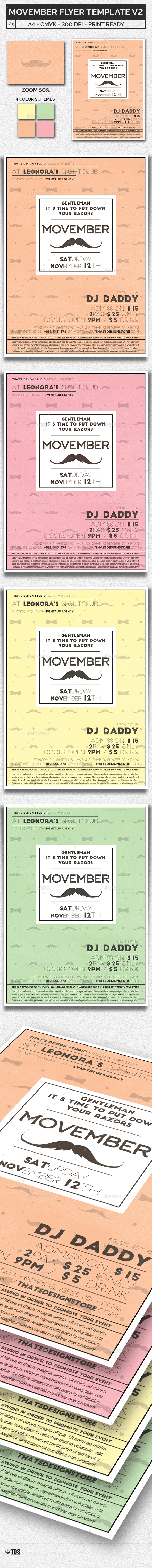 Movember Flyer Template V2 - Clubs & Parties Events
