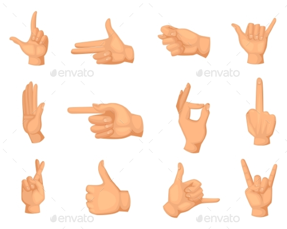Cartoon Illustrations of Hands Gestures Isolated - Miscellaneous Vectors
