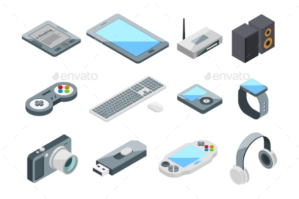 Different Electronic Gadgets Collection Isometric - Man-made Objects Objects