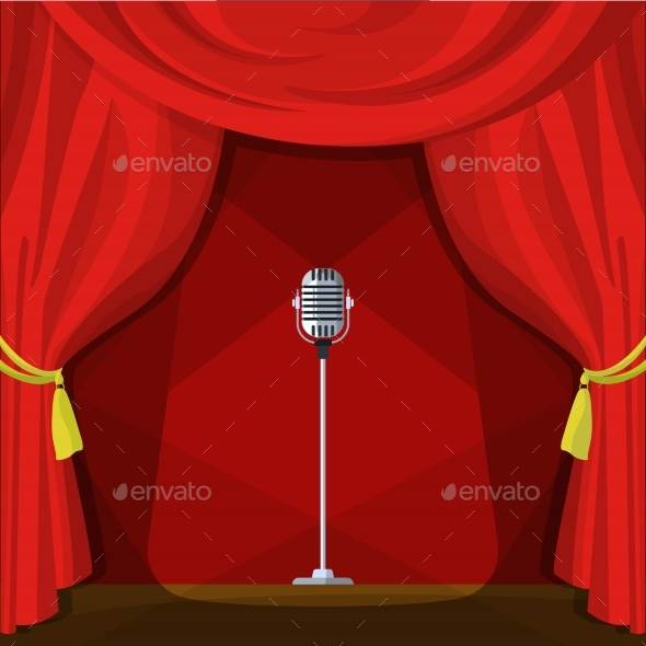 Scene with Red Curtains and Retro Microphone - Man-made Objects Objects