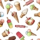 Seamless Pattern with Chocolate Ice Cream