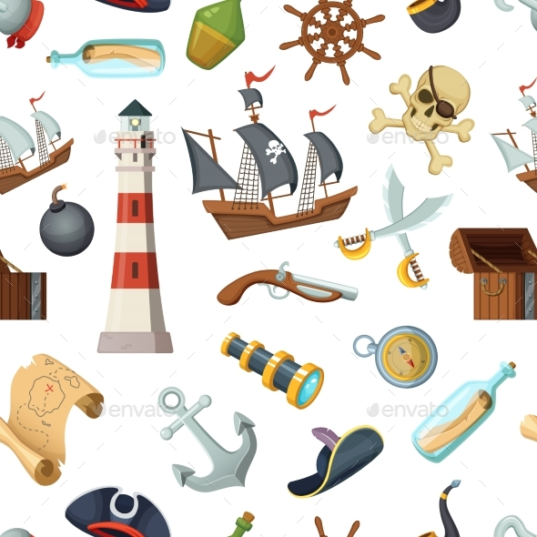 Marine Seamless Pattern with Different Pirates - Backgrounds Decorative