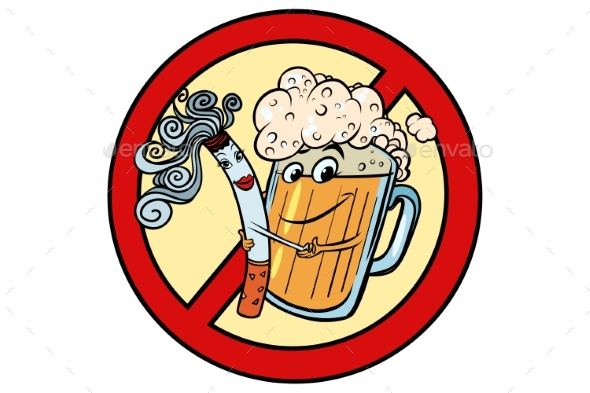 Beer and Cigarette Sign Ban - Food Objects