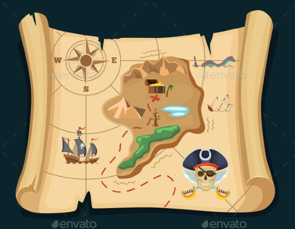 Old Treasure Map for Pirate Adventures - Man-made Objects Objects