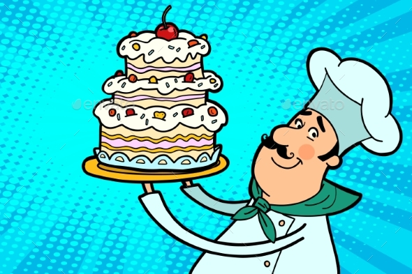 Chef Cook Character with Cherry Cake - Food Objects