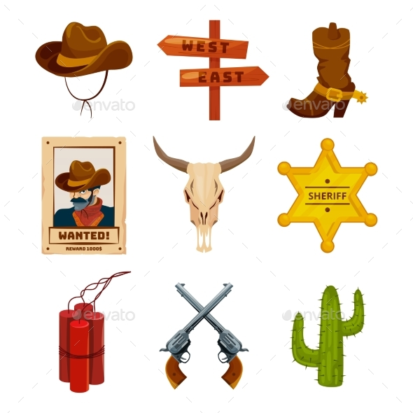 Wild West Collection Icons - Man-made Objects Objects