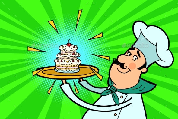 Chef Cook Character with Cupcake - Food Objects