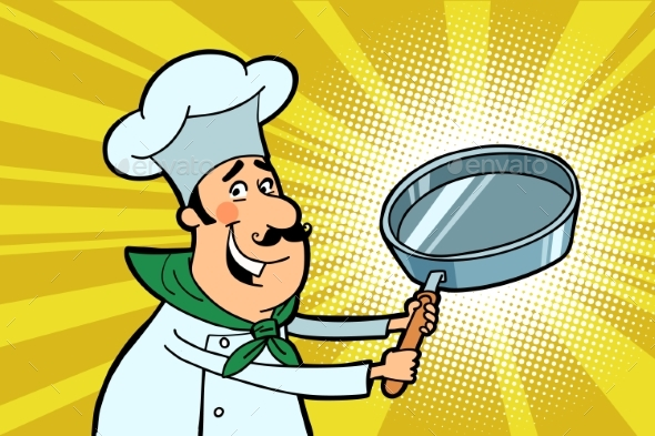 Chef Cook Character with a Frying Pan - Food Objects