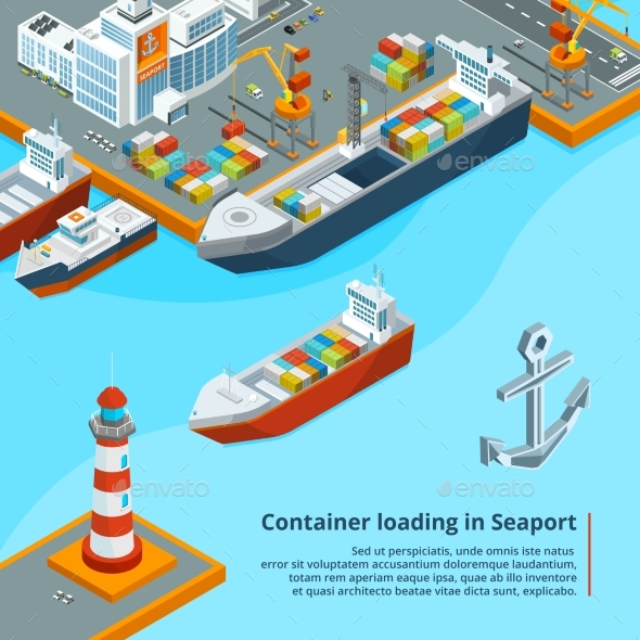 Dry Cargo Ship with Containers - Miscellaneous Vectors