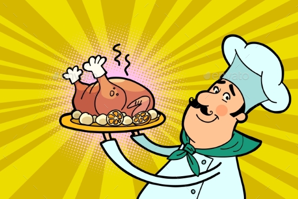 Chef Cook Character with Roast Poultry - Food Objects