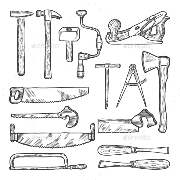 Tools in Carpentry Workshop - Man-made Objects Objects