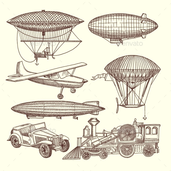 Illustrations Set of Machines in Steampunk Style - Travel Conceptual