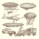 Illustrations Set of Machines in Steampunk Style