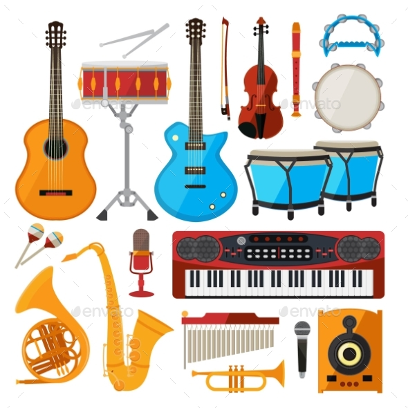 Bongo, Drums, Guitar and Other Musical Instruments - Man-made Objects Objects