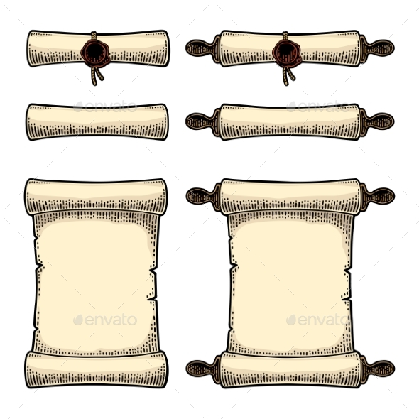 Scroll Set with Seal Isolated on White Background - Miscellaneous Vectors