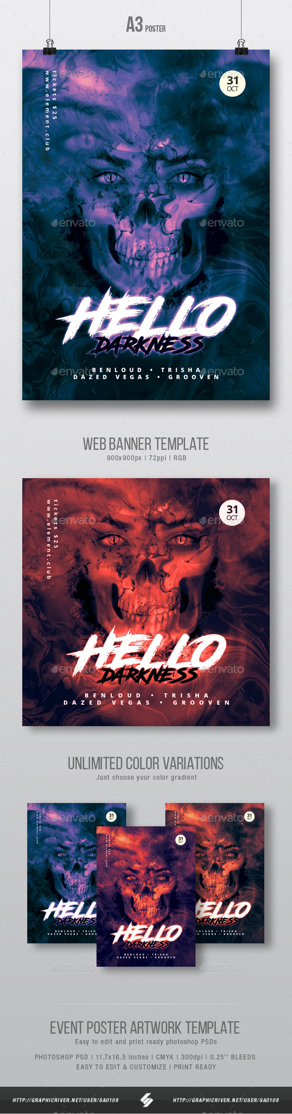 Hello Darkness - Party Flyer / Poster Artwork Template A3 - Clubs & Parties Events