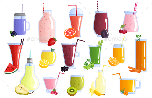 Fruit Smoothie Colorful Icons Set - Food Objects