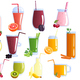 Fruit Smoothie Colorful Icons Set