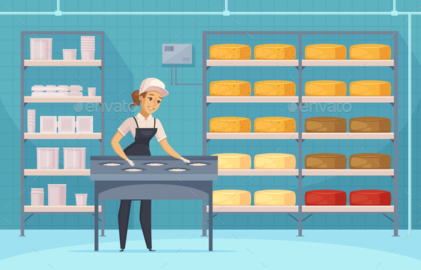 Manufacturing Of Milk Products Cartoon Composition - Food Objects