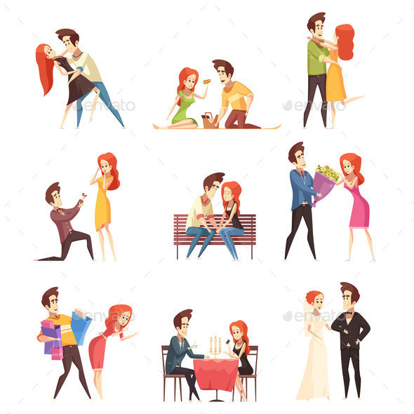 Couple In Love Decorative Elements Set - Miscellaneous Vectors