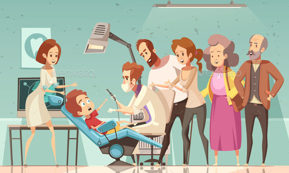 Dentist Treating Baby Cartoon Illustration - Health/Medicine Conceptual