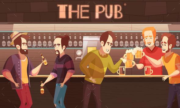 Beer Pub Flat Vector Illustration - Miscellaneous Vectors