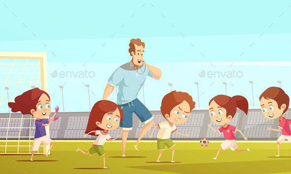 Kids Sport Cartoon Vector Illustration - Sports/Activity Conceptual