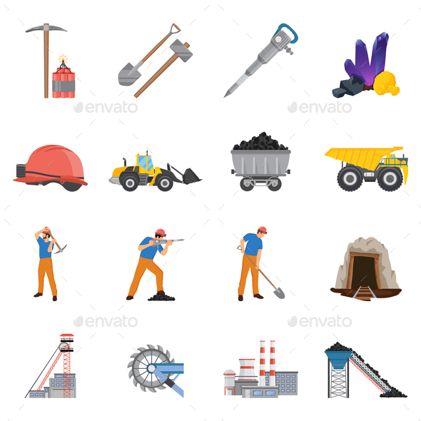 Minerals Mining Flat Icons Set - People Characters