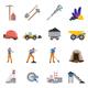 Minerals Mining Flat Icons Set