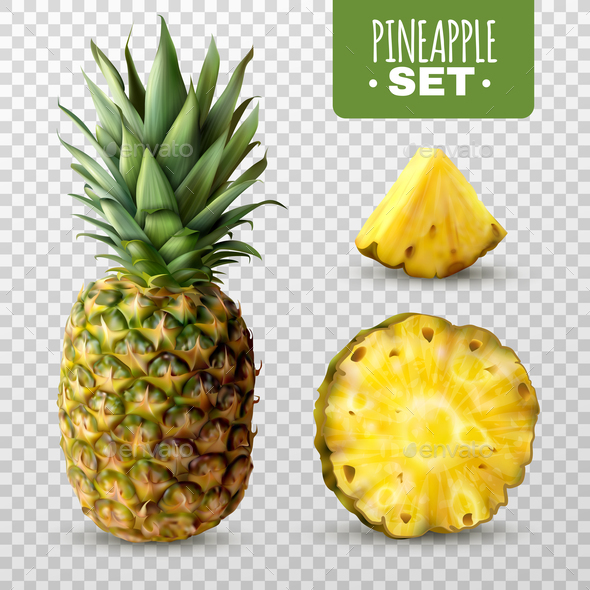 Realistic Pineapple Set - Food Objects