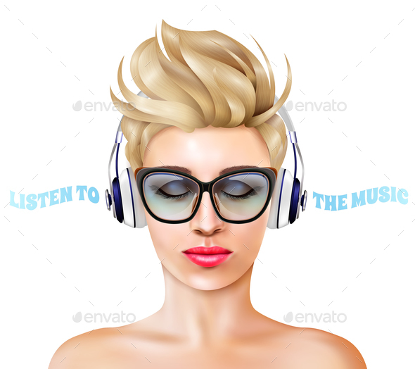 Woman With Headphones Illustration - People Characters
