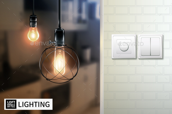 Loft Style Lamps And Switches Poster - Technology Conceptual