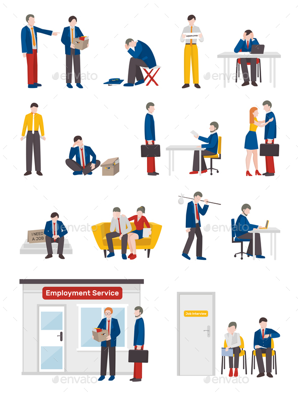 Unemployed People Characters Set - Concepts Business