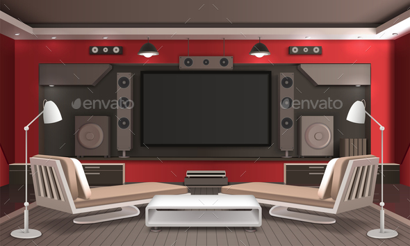 Home Theater Interior 3D Design - Technology Conceptual