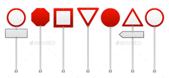 Red Road Signs Realistic  Set - Miscellaneous Vectors