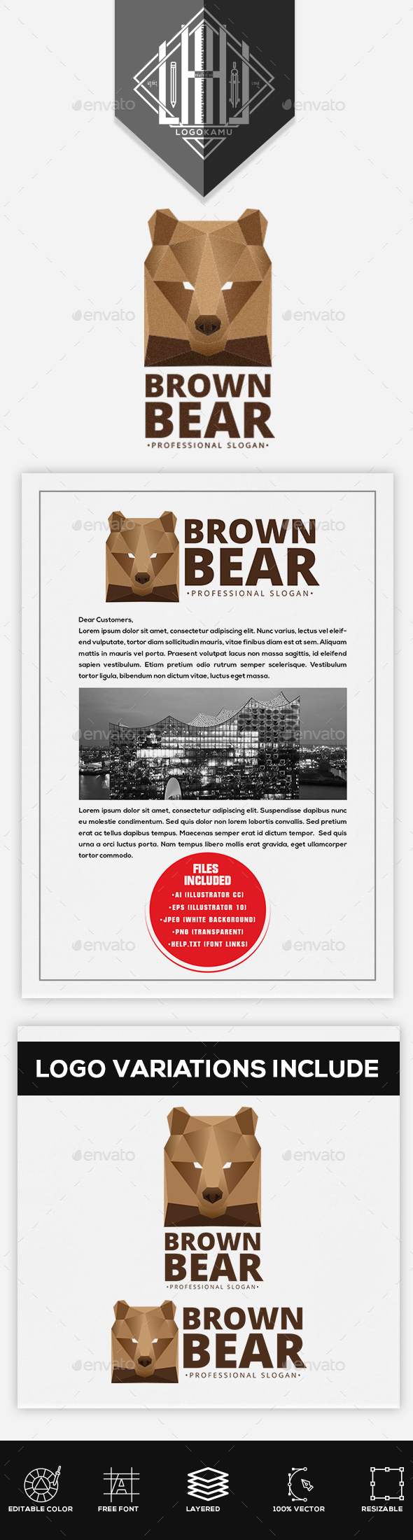Brown Bear Logo - Animals Logo Templates