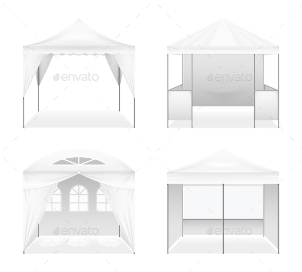 Realistic Outdoor Folding Tents Set - Miscellaneous Vectors