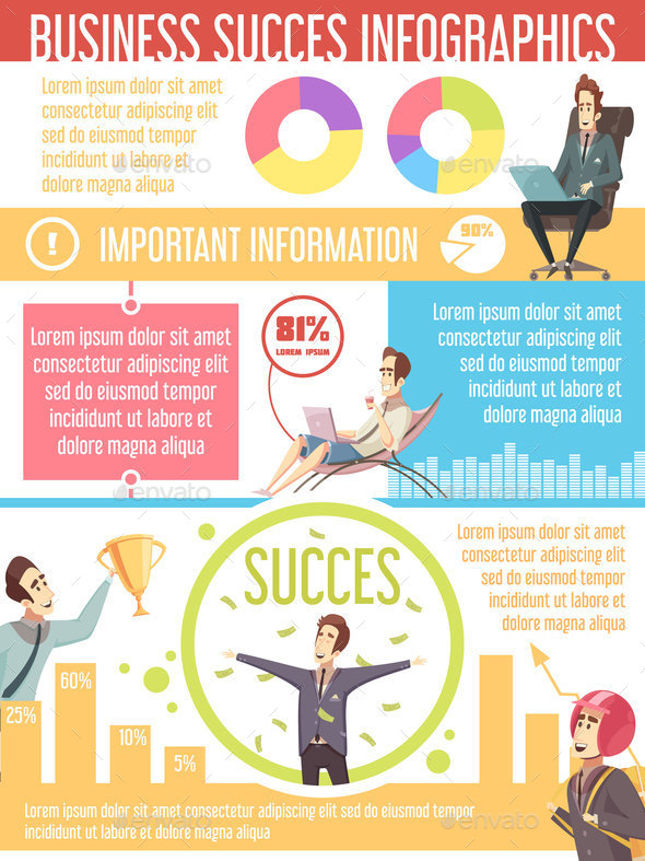 Business Success Cartoon Infographic Poster - Business Conceptual