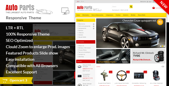 Auto Parts - Tools Opencart Theme - Technology OpenCart